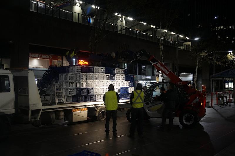 crates arriving